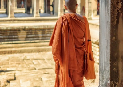 Buddhist Monk in the Courtyards of Angkor Wat