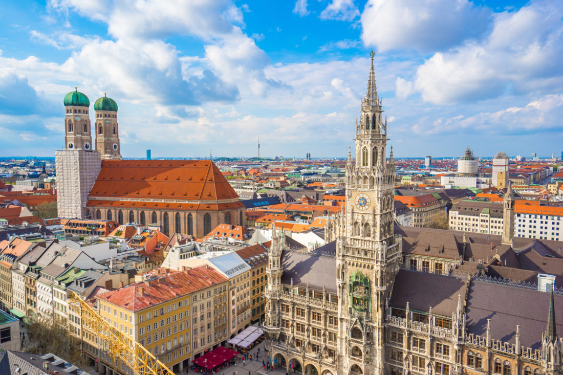 Aerial view of Marienplatz town hall and Frauenkirche in Munich, Germany.